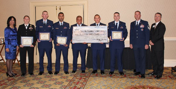 Chapter members and enlisted scholarship winners in May are (l-r) Col. Jenkins-Harden; 