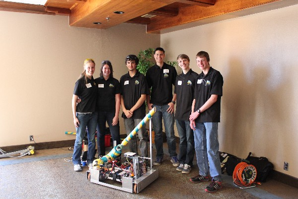 Rocky Mountain Robotics members demonstrating their latest creation to the chapter in March are (l-r) Stephanie Ann Mills, Tabitha Ann Kalin, Tristan Marcus Orton-Urbina, Cameron Austen Jenson, Kyle Anthony Brim and Michael Benner Steiner.