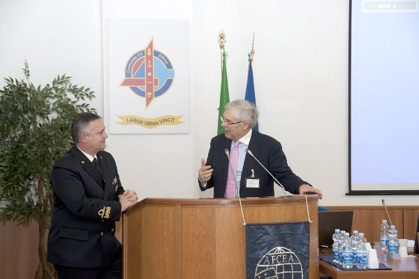 In January, Lt. Gen. Pietro Finocchio, ITAF (Ret.), chapter president, discusses interoperability and communication capabilities with Rear Adm. Edoardo Compiani, ITN, C4 commander.
