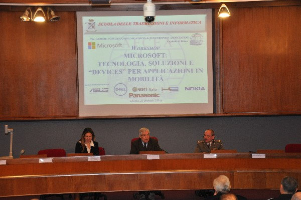 Lt. Gen. Pietro Finocchio, ITAF (c), chapter president, joins Rita Tenan, director, Publica Administration Department, Microsoft Italy, and Gen. Lorenzo Santella, IA, Army School of Communications and Data Processing, for the chapter's January event.