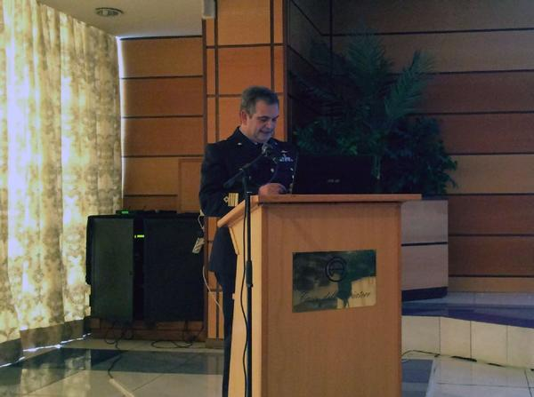 Col. S. Fiacconi, ITAF, talks about the value of meteorology at the chapter's conference in June.