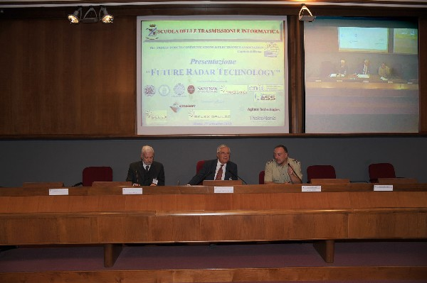 In September, Lt. Gen. Pietro Finocchio, ITAF (Ret.) (c), chapter president, joins Alfonso Farina (l), chief technology officer, Selex Sistemi Integrati, and Maj. Gen. Pietro Primo, IA, commander of the Scuola delle Trasmissioni e Informatica.