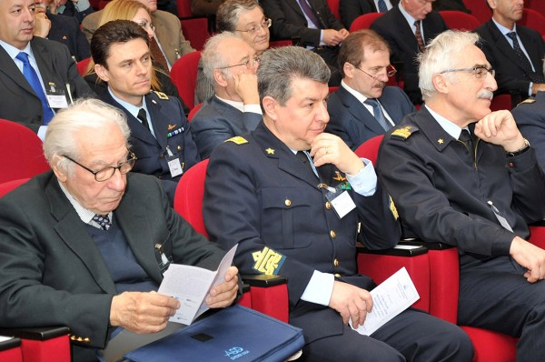 At the April conference on air traffic management are (front row, l-r) Raffaele Esposito, Finmeccanica, former chapters president and former chief executive officer of Galileo Avionica; Maj. Gen. Francesco Langella, ITAF, deputy director of the Joint Air Assets Procurement Agency; and Maj. Gen. Antonio Tangorra, ITAF, commander of the Third Division of the Air Force Logistics Command.