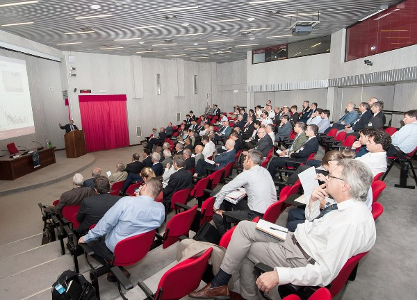 Attendees gather in the Italian Air Force Experimental Center lecture hall for the chapter�s September workshop.