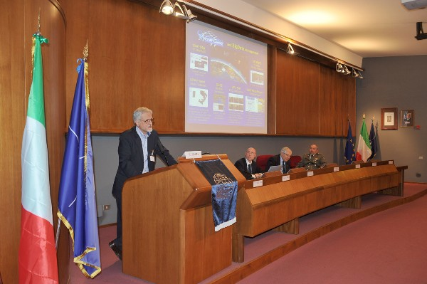 Filippo Gemma, GM Spazio, gives his presentation during the March event.