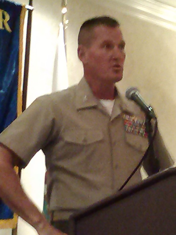 Col. Christopher B. Snyder, USMC, speaks to the chapter in September.