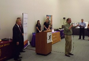 Rep. Bob Filner (D-CA), 51st District, provides the keynote address for the chapter's Veterans Career and Resource Fair in August.