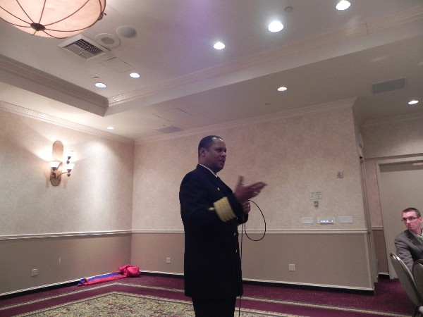 Capt. Gary Mayes, USN, commanding officer of Naval Air Station North Island, speaks to the chapter�s February luncheon crowd.