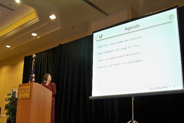 Judith Beussink, chief information officer, Surface Deployment Distribution Command, addresses the chapter in February.