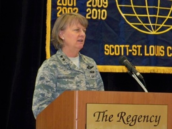 Maj. Gen. Barbara Faulkenberry, USAF, vice commander, 18th Air Force, addresses the chapter in March.
