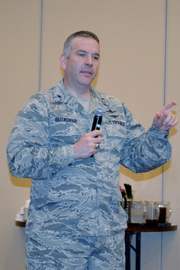 Brig. Gen. Mitch Butikofer, USAF, director, command, control, communications and cyber (C4) systems, U.S. Transportation Command, and chief information officer, addresses the April luncheon on the challenges of transformation in the J-6 directorate.