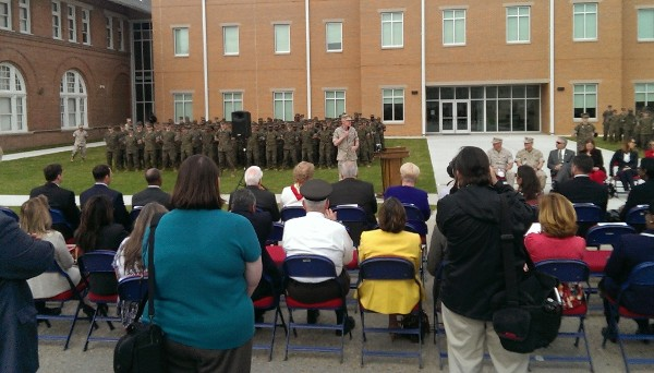 Gen. Richard Mills, USMC, commander, Marine Corps Forces Reserve, briefs the crowd during the New Orleans Military and Maritime Academy building dedication in March.