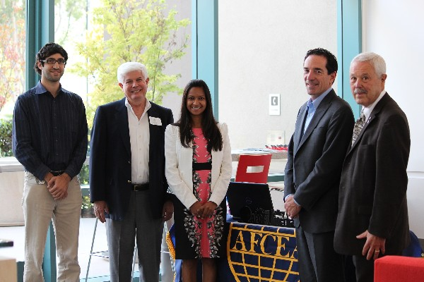 The chapter hosts a discussion on Internet security at Cisco Systems Incorporated in August with (l-r) Jonathan Bennun; Bob Morehead, chapter president; Reema Prasad; Joe Beel; and Bob Landgraf, chapter member.