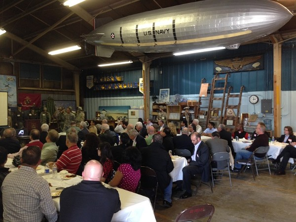 The chapter holds it February luncheon in the Moffett Field Historical Society Museums banquet room. Seventy-one members/guests listen as Lt. Bersamina talks about the mission and history of the 129th Rescue Wing.