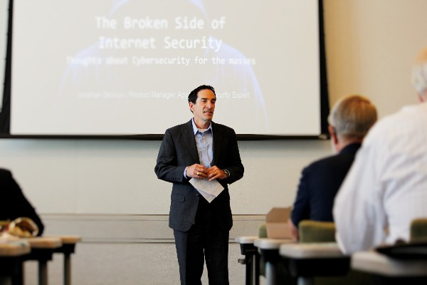 Joe Beel of Cisco Systems Incorporated, Strategic Programs manager, opens the discussion on Internet security and introduces the two presenters in August.