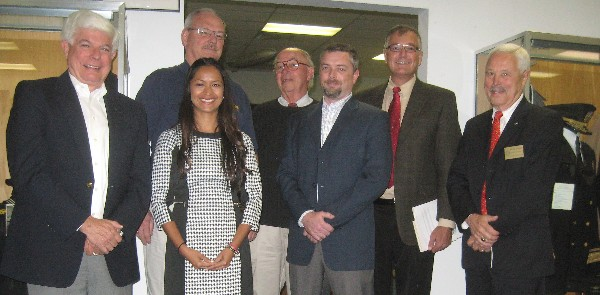 Attending the May meeting of leaders are (l-r) Bob Moorhead, Silicon Valley Chapter president; Reema Prasad, Northern California regional Young AFCEANs; Herb Parsons, president, Moffett Field Historical Society Museum; Larry Reeves, Monterey Chapter president; Corey Frasure, Northern California Chapter board member; Bobbie Campbell, Northern California Chapter president; and Bob Landgraf, Northern California regional vice president. Not shown is Dan Washington, San Francisco Chapter president.