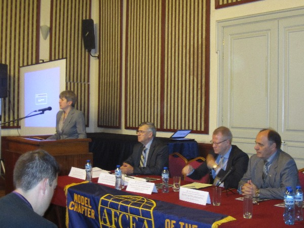 Avgustina Tzvetkova (l), deputy minister of defense, delivers her speech at the chapter's November conference, along with panelists (2nd from l-r) Col. Simeon Kralikov, BUAR (Ret.), chapter president; Maj. Gen. Jan Anderson, senior military adviser to the Swedish Defense Export Agency; and Konstantin Zografov, regional vice president for South Eastern Europe.