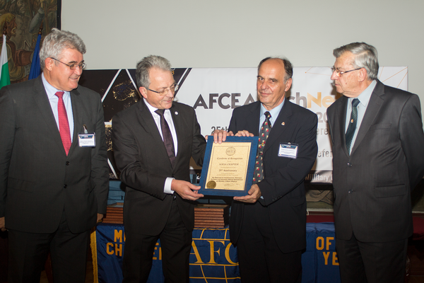 Maj. Gen. Erich Schaudacher, GEAF (Ret.), general manager, AFCEA Europe (second from l), presents a Certificate of Recognition to the Sofia Chapter along with (l-r) Tselkov, Zografov and Kralikov.