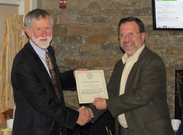 Thomas F. Gannon, Ph.D., professor of practice, Worcester Polytechnic Institute (l), receives a certificate of appreciation from Chapter President Lee Rossetti for his December presentation on architecture and design.
