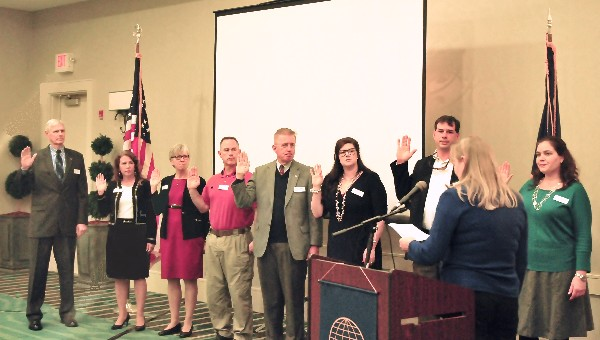 Regional Vice President Jane Hefner-Brightwell administers the oath of office to the 2015 Chapter Officers  in January(l-r) President Don Pearsall; Secretary Debbie Donaldson; 1st Vice President Christina Ward; At Large Board Member Scott Higgins; 2nd Vice President Greg Blackburn; At Large Board Members Kristen Smith and John Andrews; and Treasurer Whitney Bridges.