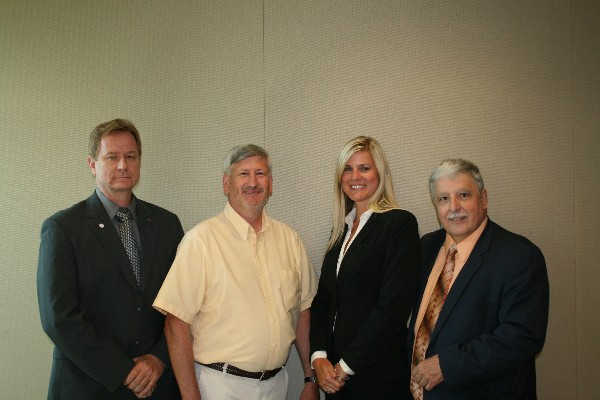 Chapter officers elected in July for the 2013-2014 year are (l-r) Patrick O'Brien, treasurer; John Jarvis, vice president; Pam Plesz, president; and Danny Demarnis, regional vice president. Not pictured is Steve Kozick, secretary.