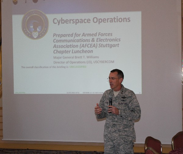 Maj. Gen. Brett T. Williams, USAF, director of operations, J-3, U.S. Cyber Command, discusses cyberspace operations at the December luncheon.