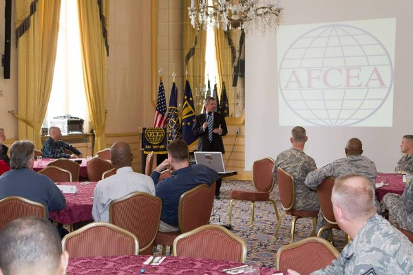 Michael C. Ryan, director, Interagency Partnering, Headquarters U.S. European Command, speaks at the chapter's March luncheon.