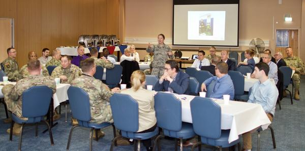 Col. Robin Gibson, USAF, U.S. European Command, deputy J-6, helps energize the newly re-formed chapter in September with a slideshow of photos from past events.