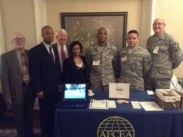 Chapter executive members hosting the Winter Tech Expo in January are (l-r) Wayne Henry; Albert Hill, regional vice president; Dr. Joe Page; Belita Smith; Master Sgt. Don Blackmon, USAF; Maj. Ruben Rodriguez-Figueroa, USA; and Senior Master Sgt. Steve Schwerdtfeger, USAF.