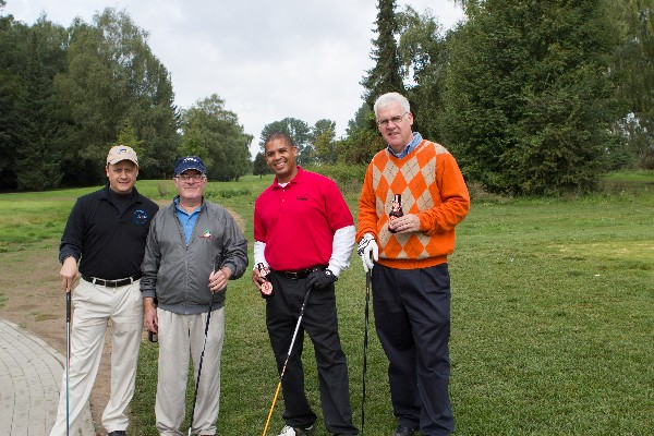 Chapter leadership participating in the September golf tournament are (l-r) Whitney Myrus, Wayne Henry, Micheal Young and Michael Flynn.