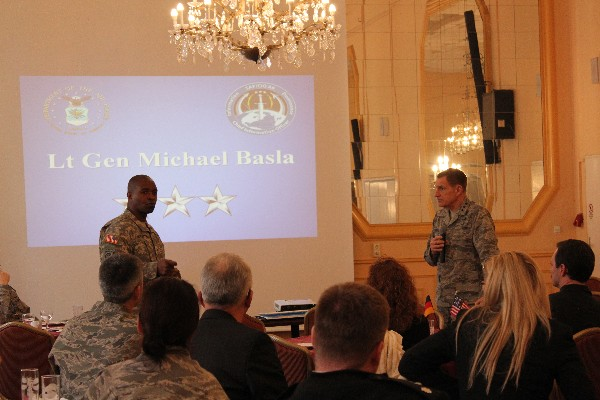 Following Gen. Basla�s remarks in January, he and Brig. Gen. Bruce Crawford, USA, U.S. European Command J-6, discuss the significance of global partners and allies and the importance of cyber professional development programs.