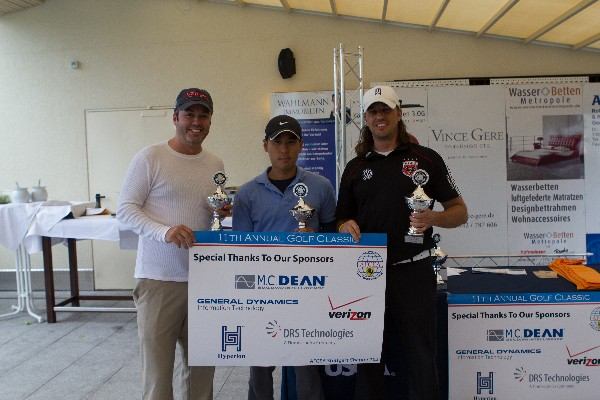 The 1st place team for this year's golf tournament in September are (l-r) Justin Pyle, Steve Youn and Damon Abruzere.