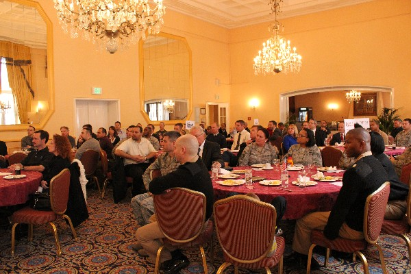 Attendees at the January luncheon listen attentively as Gen. Basla discusses challenges of cyberspace and the requirement for innovation to best utilize resources, address challenges and facilitate future successes.