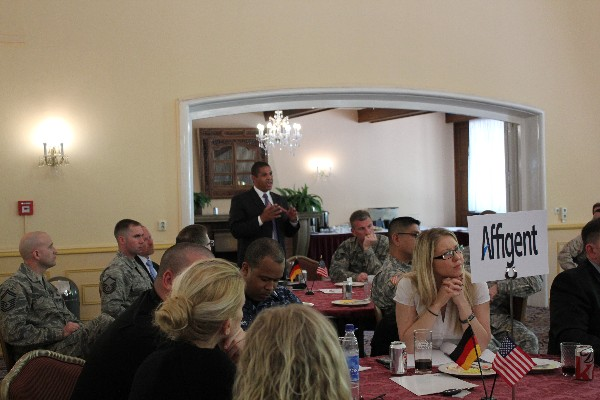 Michael Young, chapter vice president, asks Col. Price about the Joint Information Environment at the June luncheon.