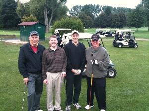 Helping raise scholarship funds at the chapter's 8th annual Stuttgart AFCEA Golf Classic in September are (l-r) Michael Smith, Paul Stancik, Aaron Unger and Dr. Joe Page. The team finished first in the field with a score of 11 under par.