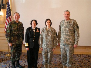 Gathering for the February guest presentation are (l-r): Brig. Gen. Thomas Verbeck (far left), Director of Command, Control, Communications and Warfighting Integration, Headquarters, U.S. European Command; Vice Admiral Nancy Elizabeth Brown (2nd to the left), Director for C4 Systems (J6) The Joint Staff; MG Marilyn Quagliotti, Vice Director of DISA (2nd from right) and COL Mike Curry (far right), Commander of DISA-Europe and President of the Stuttgart Chapter were among those present at the 2007 AFCEA luncheon in February.