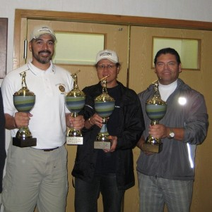 In September, Rob Maldonado (l), Katalina Liliu (c) and Oswald Dioses accept their awards as the golf tournament and fundraiser's winning team.