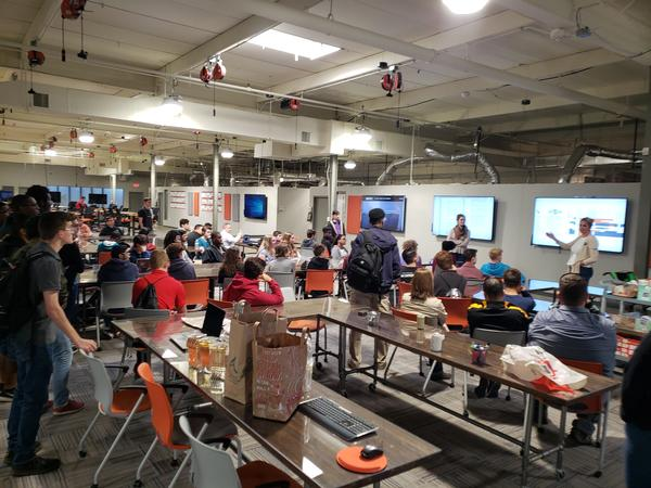 Students are presented with the current events at the SOFWERX facility in Tampa, Florida, in November.