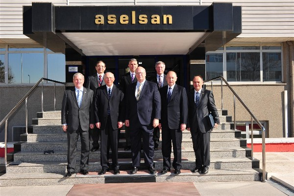 AFCEA executives visiting ASELSAN in March are (top row, l-r) Capt. K. Zafer Selcuk, TUN (Ret.), chapter secretary; Mustafa Erturk, international marketing director, ASELSAN; Maj. Gen. Klaus Peter Treche, GEAF (Ret.), general manager, AFCEA Europe; (front row, l-r) Lt. Gen. John R. (Bob) Wood, USA (Ret.), executive vice president, AFCEA International; Col. I. Bora Buyukoner, TUA (Ret.), chapter president; Kent Schneider, president and chief executive officer, AFCEA International; Cengiz Ergeneman, general manager, ASELSAN; and Konstantin Zografov, regional vice president, AFCEA Southeast Europe.