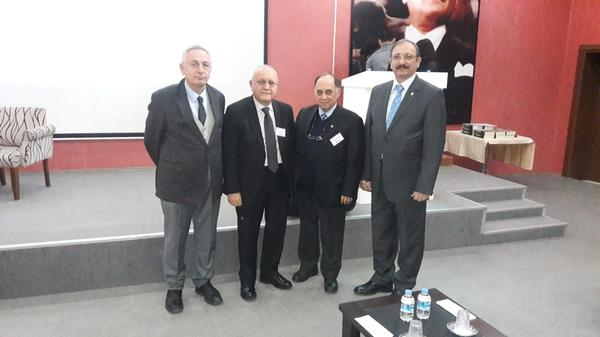 Conference participants (from l-r) Erdinc Oguz, chapter treasurer; Rafet Yavuz, DASA president; Capt. Zafer Betoner, TUN (Ret.), chapter vice president; and Kamil Zafer Selcuk, chapter president, pose for a photo at the February event.