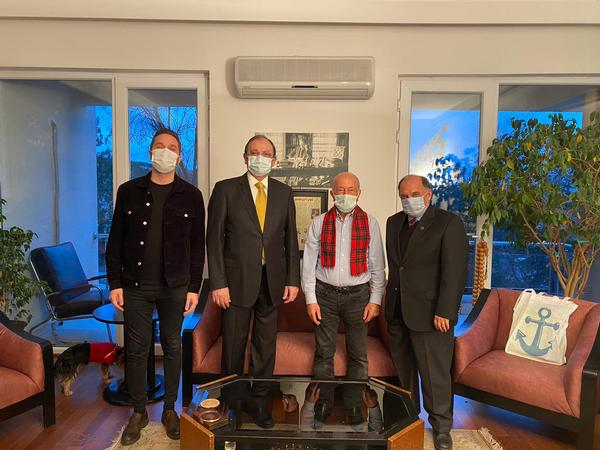 (From l-r) Serhat Bizimtuna, chapter secretary; Capt. Kamil Zafer Selcuk, TUN (Ret.), chapter president; Yalcin Onyuru, founder and CEO of TARGET AS, Capt. Zafer Betoner, TUN (Ret.), chapter vice president, meet in January.
