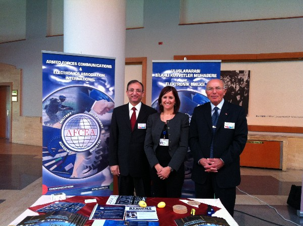 In November, representing AFCEA at the chapter's exhibit are (l-r) Capt. K. Zafer Selcuk, TUN (Ret.), chapter secretary; Seniz Ulucay, a stand assistant; and Col. Buyukoner.