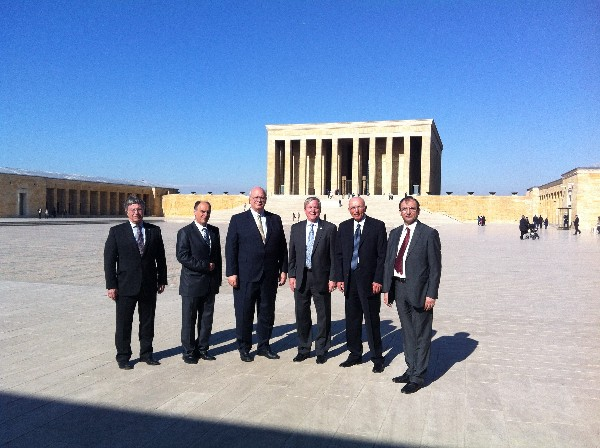 Visiting Ataturk�s mausoleum in March are (l-r) Gen. Treche; Zografov; Schneider; Gen. Wood; Col. Buyukoner; and Capt. Selcuk.
