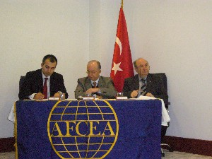 Members of the chapter council presiding over the January meeting are (l-r) Yasar M. Ercan, Col. Erdogan Ezbiderli, TUA (Ret.), and Lt. Col. Yucel Kuru, TUA (Ret.).