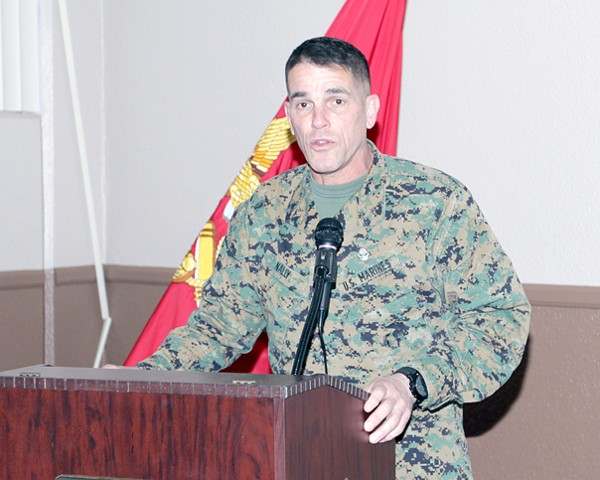 Gen. Nally delivers a brief detailing the evolution of U.S. Marine Corps communications and data infrastructure at the February luncheon. He covered a wide variety of topics within the communications realm including the Marine Corps� current status and pending future improvements.
