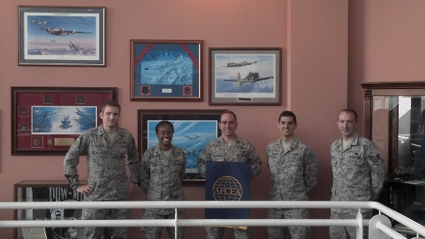 New chapter officers at the inaugural meeting in June are (l-r) 1st Lt. Dan Shockley, USAF; 1st Lt. Latiria Mayo, USAF; Lt. Col. Albert Franke, USAF; 2nd Lt. Mark Ciaravino, USAF; and Staff Sgt. Peter Krawitz, USAF.