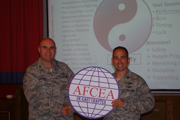 Lt. Col. Albert E. Franke IV, USAF (r), chapter president, thanks Col. Steve Sweeney, USAF, commander, 423rd Air Base Group, after his cyber leadership discussion, �The Tao of Cyber,� at the August meeting.