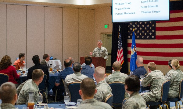 Chief Master Sgt. Patrick F. McMahon, USAF, 14th Air Force command chief, addresses the chapter during the September luncheon.