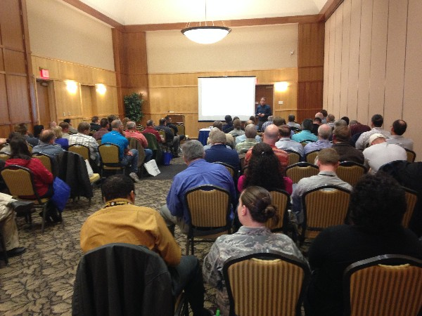 Justin Searle, UtiliSec, presents a cyber training class on SamuraiSTFU at the Hill Air Force Base Technology Expo and Cyber Training 2014 in March.