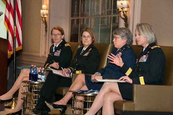 Panelists at the Women in Intelligence event in February are (l-r) Lt. Gen. Mary Legere, USA, the Army's senior intelligence officer; Rear Adm. Elizabeth Train, USN, commander of the Office of Naval Intelligence and director of the National Maritime Intelligence-Integration Office; Maj. Gen. Linda Urrutia-Varhall, USAF, assistant deputy chief of staff, Intelligence, Surveillance and Reconnaissance, Air Force; and Brig. Gen. Karen Gibson, USA, deputy commanding general of the Joint Force Headquarters-Cyber, U.S. Army Cyber Command.
